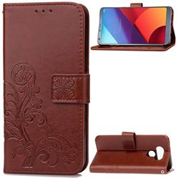 Embossing Imprint Four-Leaf Clover Leather Wallet Case for LG G6 H870 - Brown