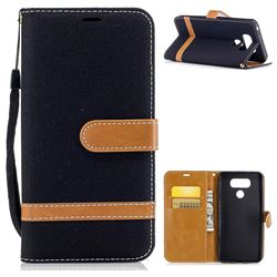 Jeans Cowboy Denim Leather Wallet Case for LG G6 - Black