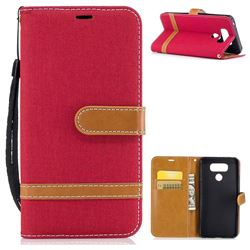 Jeans Cowboy Denim Leather Wallet Case for LG G6 - Red