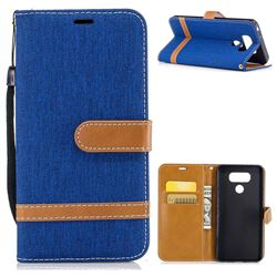 Jeans Cowboy Denim Leather Wallet Case for LG G6 - Sapphire