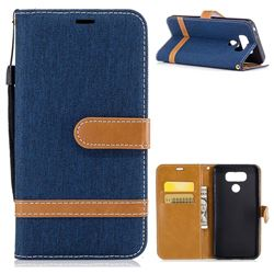 Jeans Cowboy Denim Leather Wallet Case for LG G6 - Dark Blue