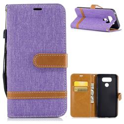 Jeans Cowboy Denim Leather Wallet Case for LG G6 - Purple