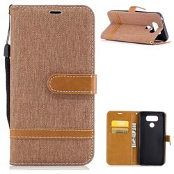 Jeans Cowboy Denim Leather Wallet Case for LG G6 - Brown