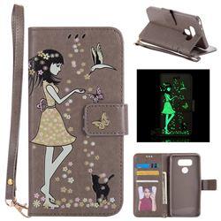 Luminous Flower Girl Cat Leather Wallet Case for LG G6 - Gray