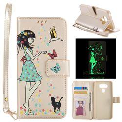 Luminous Flower Girl Cat Leather Wallet Case for LG G6 - Champagne