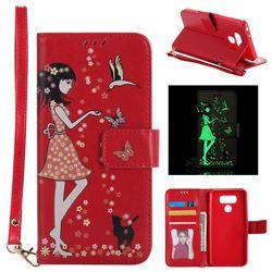 Luminous Flower Girl Cat Leather Wallet Case for LG G6 - Red