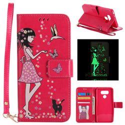 Luminous Flower Girl Cat Leather Wallet Case for LG G6 - Rose
