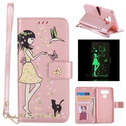 Luminous Flower Girl Cat Leather Wallet Case for LG G6 - Light Pink