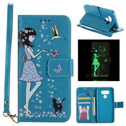 Luminous Flower Girl Cat Leather Wallet Case for LG G6 - Blue