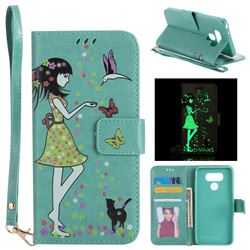 Luminous Flower Girl Cat Leather Wallet Case for LG G6 - Green