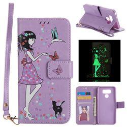 Luminous Flower Girl Cat Leather Wallet Case for LG G6 - Purple