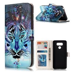 Ice Wolf 3D Relief Oil PU Leather Wallet Case for LG G6