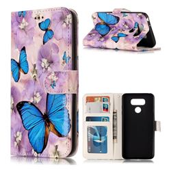 Purple Flowers Butterfly 3D Relief Oil PU Leather Wallet Case for LG G6