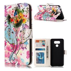 Flower Elephant 3D Relief Oil PU Leather Wallet Case for LG G6