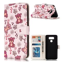 Cute Bear 3D Relief Oil PU Leather Wallet Case for LG G6