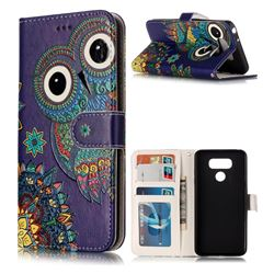 Folk Owl 3D Relief Oil PU Leather Wallet Case for LG G6