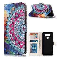 Mandala Flower 3D Relief Oil PU Leather Wallet Case for LG G6