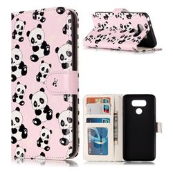 Cute Panda 3D Relief Oil PU Leather Wallet Case for LG G6