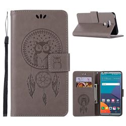 Intricate Embossing Owl Campanula Leather Wallet Case for LG G6 - Grey