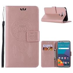 Intricate Embossing Owl Campanula Leather Wallet Case for LG G6 - Rose Gold
