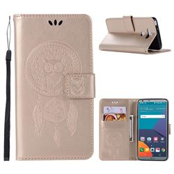 Intricate Embossing Owl Campanula Leather Wallet Case for LG G6 - Champagne