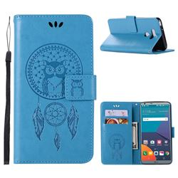 Intricate Embossing Owl Campanula Leather Wallet Case for LG G6 - Blue