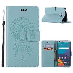 Intricate Embossing Owl Campanula Leather Wallet Case for LG G6 - Green
