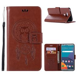 Intricate Embossing Owl Campanula Leather Wallet Case for LG G6 - Brown