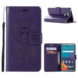 Intricate Embossing Owl Campanula Leather Wallet Case for LG G6 - Purple