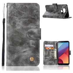 Luxury Retro Leather Wallet Case for LG G6 - Gray