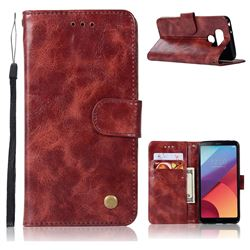 Luxury Retro Leather Wallet Case for LG G6 - Wine Red