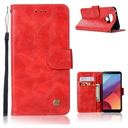 Luxury Retro Leather Wallet Case for LG G6 - Red