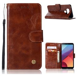 Luxury Retro Leather Wallet Case for LG G6 - Brown