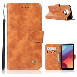 Luxury Retro Leather Wallet Case for LG G6 - Golden