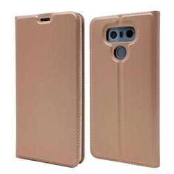 Ultra Slim Card Magnetic Automatic Suction Leather Wallet Case for LG G6 - Rose Gold