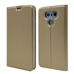 Ultra Slim Card Magnetic Automatic Suction Leather Wallet Case for LG G6 - Champagne