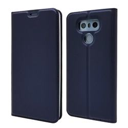 Ultra Slim Card Magnetic Automatic Suction Leather Wallet Case for LG G6 - Royal Blue