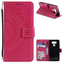 Intricate Embossing Datura Leather Wallet Case for LG G6 - Rose Red