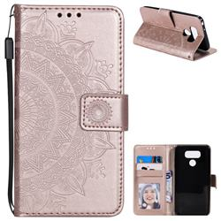 Intricate Embossing Datura Leather Wallet Case for LG G6 - Rose Gold