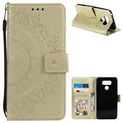 Intricate Embossing Datura Leather Wallet Case for LG G6 - Golden