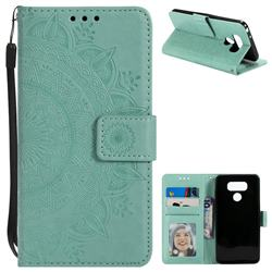 Intricate Embossing Datura Leather Wallet Case for LG G6 - Mint Green