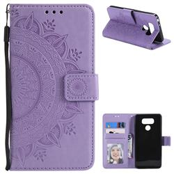 Intricate Embossing Datura Leather Wallet Case for LG G6 - Purple
