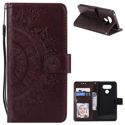 Intricate Embossing Datura Leather Wallet Case for LG G6 - Brown