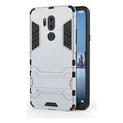 Armor Premium Tactical Grip Kickstand Shockproof Dual Layer Rugged Hard Cover for LG G7 ThinQ - Silver