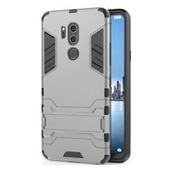 Armor Premium Tactical Grip Kickstand Shockproof Dual Layer Rugged Hard Cover for LG G7 ThinQ - Gray