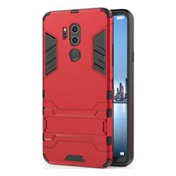 Armor Premium Tactical Grip Kickstand Shockproof Dual Layer Rugged Hard Cover for LG G7 ThinQ - Wine Red