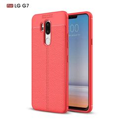Luxury Auto Focus Litchi Texture Silicone TPU Back Cover for LG G7 ThinQ - Red