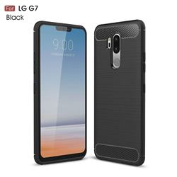 Luxury Carbon Fiber Brushed Wire Drawing Silicone TPU Back Cover for LG G7 ThinQ - Black