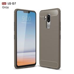 Luxury Carbon Fiber Brushed Wire Drawing Silicone TPU Back Cover for LG G7 ThinQ - Gray