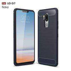 Luxury Carbon Fiber Brushed Wire Drawing Silicone TPU Back Cover for LG G7 ThinQ - Navy